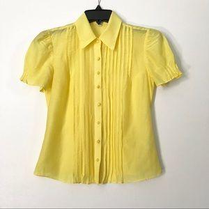 Banana Republic Yellow Silk Buttondown blouse top